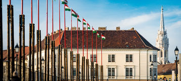 Flags and buildings on Budapest castle hill. Royalty Free Stock Photos