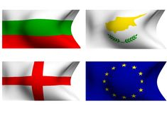 Flags of Bulgaria, Cyprus, England and EU. Ropean Union. 3D Royalty Free Stock Image