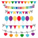 Happy birthday icons set. Flags, bunting and garlands isolated on white. Party and celebration design elements Royalty Free Stock Photos