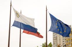 Flags of Burgas in Bulgaria Royalty Free Stock Photos