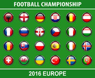 Flags buttons of football championship 2016. Flags buttons of members countries of European football championship 2016, vector Royalty Free Stock Photo