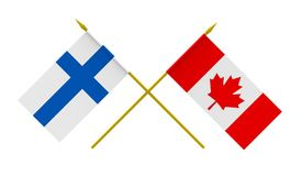 Flags, Canada and Finland. Flags of Canada and Finland, 3d render, isolated on white Royalty Free Stock Photo