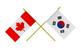 Flags, Canada and Republic of Korea. Flags of Canada and Republic of Korea, 3d render, isolated Stock Photography