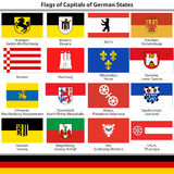 Flags of Capitals of German States Stock Image