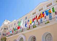 Flags on Capri Hotel royalty free stock images