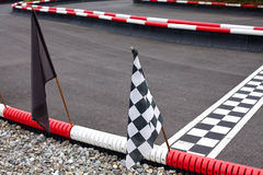Flags on carting track. Different flags on carting track Stock Images