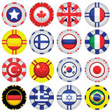 Flags on Casino Tokens. Collection of casino tokens with flags Royalty Free Stock Photography
