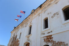 Flags at Castillo San Cristobal in Puerto Rico Stock Images