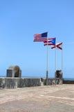Flags at Castillo San Cristobal Stock Photo