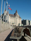 Flags and Castle. Urban scene Stock Photos