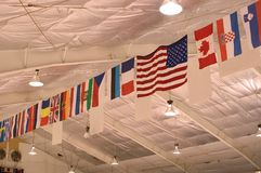 Flags on the Ceiling stock image