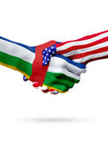 Flags Central African Republic, United States countries, overprinted handshake. stock image