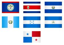 Flags_Central America Stock Photos