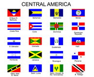 Flags of Central America  countries. List of all flags of Central America  countries Royalty Free Stock Images