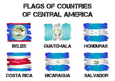Flags of Central America countries from brush strokes. Set of flags of Central America countries from brush strokes in grunge style  on white background. Vector Royalty Free Stock Images