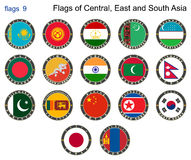Flags of Central, East and South Asia. Flags 9. Royalty Free Stock Image