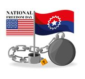 Flags and chain to celebrate national freedom. Vector illustration Royalty Free Stock Photo