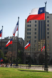 Flags of Chile. In downtown Santaigo, Chile Stock Photography
