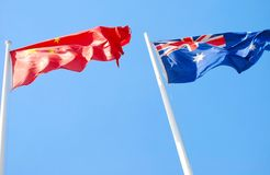 Flags of China and Australia Stock Photo