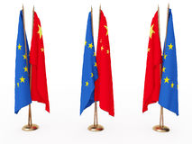 Flags of China and the EU Royalty Free Stock Photos