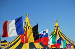 Flags and circus tent stock image