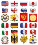 Flags and coats of world powers Stock Photo