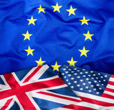 Flags. Collage of three flags. Flags of EU UK and USA together Stock Photos