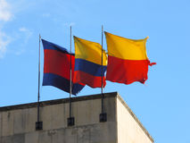 Flags of Colombia and Bogota. Flags of Colombia and Bogota over a government building in Bogota, Colombia Royalty Free Stock Photo