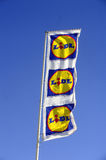 Flags in the colors of Lidl supermarket Royalty Free Stock Photos