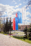 Flags in colors of Russian tricolor on May holidays Royalty Free Stock Image