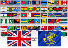 Flags of the Commonwealth of Nations. The Commonwealth of Nations (formerly the British Commonwealth) - an intergovernmental organisation of 53 member states Royalty Free Stock Image