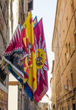 The flags of contrads of Siena. Palio. Stock Images