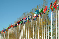Flags of countries. Flags of some countries waving to the wind in park stock photography