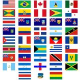 Flags of the countries of America Royalty Free Stock Photography