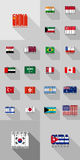 Flags of countries Americas, Asia, Australia, flat design of the letters Royalty Free Stock Images