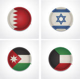 Flags of countries as fabric badges Stock Photos