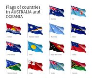 Flags countries Australia and Oceania. Realistic style set. Collection of national symbols. Vector illustrations of tribes, aborigines, peoples, pacific ocean Stock Image