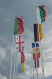 Flags of 8 countries in Bulgaria Royalty Free Stock Images
