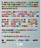 Flags of countries divided by parts of the world Stock Image