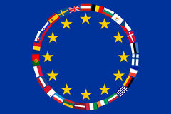 Flags of countries EU. Flag EU with flags of countries - members of European Union Royalty Free Stock Images