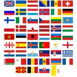 Flags of the countries of Europe Stock Photography