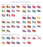 Flags of countries of Europe big flag set Royalty Free Stock Photography