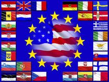 Flags of countries belonging to the European Union. Flags of the countries of the European Union against the background of the flag of the EU vector illustration