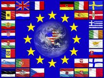 Flags of countries belonging to the European Union. Flags of the countries of the European Union against the background of the flag of the EU royalty free illustration