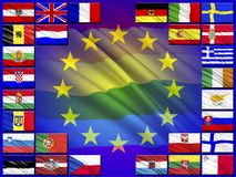 Flags of countries belonging to the European Union. Flags of the countries of the European Union against the background of the flag of the EU stock illustration