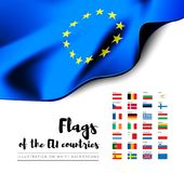 Flags of the countries of the European Union. EU flags. Vector set. On white background royalty free illustration