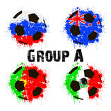 Flags of the countries in the form of abstract balls. Football tournament 2017. Flags of the countries participant in the form of abstract balls. Group A. Vector royalty free illustration