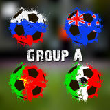 Flags of the countries in the form of abstract balls. Football tournament 2017. Flags of the countries participant in the form of abstract balls. Group A. Vector stock illustration