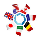 Flags countries of the Group of seven. Stock Photography