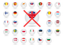 Flags of countries member of the European Union. Struck-through Royalty Free Stock Photography